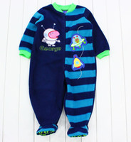 Boy Spring / Autumn  peppa pig one-pieces romper george pig boys jumpsuits baby coral fleece rompers children sleeping bags kids pajamas free shipping
