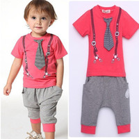 Cheap 2014 New Arrival Baby Boys 3pcs Suits T-shirt+Pants+Tie Boy Sport Clothing Suits Printed Top Summer Outfits Children Clothing Sets 5set lot