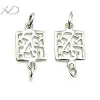 Cheap Xd p317 square earring accessories pure silver connector 925 silver accessories cutout accounterment exquisite