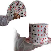 8-11 Years magic card tricks - New Arrival Magic Props CARD FAN to Card Top Hat Stage Magic Card Fedora Cap Stage Magic Trick Magic Toy