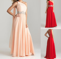 Wholesale Stock Prom Dresses One Shoulder Beads Special Occasion Pageant Dresses Red Champagne Chiffon A line Long Bridesmaid Party Evening Dress E235