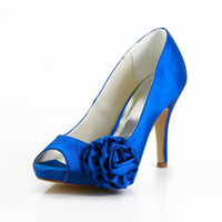 Party Heels High Heel 2014 new blue wedding shoes for bridal high heel platform flowers women prom evening party shoes satin custom shoes plus size 3-11