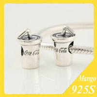 Wholesale 925 ALE Sterling Silver Threaded Bottle Bead with Letter Cola Pandora Charm Fits for Chamilia European Style Bracelets Jewelry FJ275