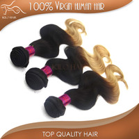 Wholesale 5A Ombre Peruvian Hair Weave inch to inch ombre color B black blonde virgin human hair weft Mix length bundles body wave hair
