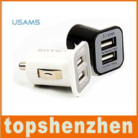 Wholesale USAMS A mha USB Dual Car Charger V Dual Port car Chargers for iPad iPhone S iPod iTouch HTC Samsung
