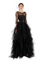 Wholesale 2014 Sexy Formal Evening Dresses Ball Gown Crew Floor Length Sexy Prom Gowns Lace Embroidery Sash Tiered Tulle Gown Custom Made