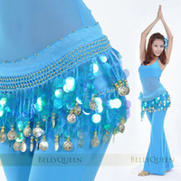 Wholesale Mfm003 Coins Mixed color Belly Dancing Sequins Hip Scarf Wrap Belt Skirt