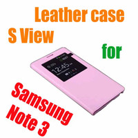 For Samsung Silicone White 10 Colors Smart S view Open Window IC chip Sleep Wake PU Flip Leather Back Battery Case For Samsung Galaxy Note 3 N9000 with logo churchill