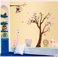 PVC Paper Home Decor - Mural Paper wall Parlor Elephant Tree Animals kids Removable vinyl wall stickers for kids rooms home decor decals Poster AY216