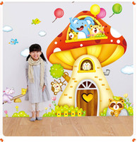 Wholesale Hi Quality Cartoon Mushrooms wall sticker Children s DIY Wallpaper Nursery Daycare Baby Room Decor inch