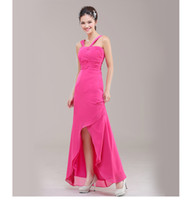 Model Pictures Ruched Sleeveless 2014 New Arrival Cheap High Quality Sleeveless Asymmetrical Floor Rose Red Chiffon Ruched Sheath Bridesmaid Dress