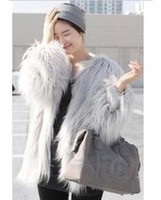Coats Women Cotton Hot Korean Shopping stylenanda long fox fur goat grass beach wool leather coat