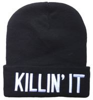 Cotton beaches in usa - Fashion Quality brands streetwear KILLIN IT Beanies in Black Unisex Knitting hats to USA by ePacket Fast shipping