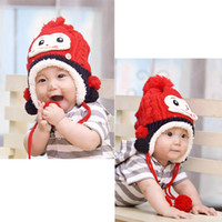 Wholesale 2014Cute Baby Infant Monkey Animal Tassel Ball Knit Crochet Cap Hat Red
