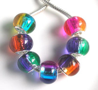 Wholesale Brand New mm dia Mix Color Big Hole Glass Loose Beads fit European jewelry Diy bracelet charms per