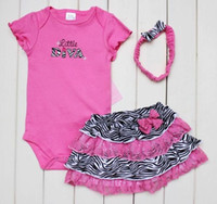 Wholesale Zebra Baby Bodysuits Skirt Hairband Set Girl s TUTU Skirts DIVA Baby Rompers Suits Lace Dresses HJ