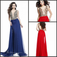 Model Pictures V-Neck Chiffon 2014 tarik-edizal Prom Dress Plunging V-neckline Special Occasion Pageant Dresses Beads Blue Red Chiffon Backless Party Evening Dress 92260