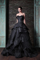 Reference Images Strapless Elastic Satin New Arrival Hot Ball Gown Sweetheart Off the Shoulder Black Vintage Satin Evening Dress with Appliques Zipper Back