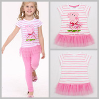 Wholesale Newest Summer Peppa Pig baby girls tutu dresses kids cartoon clothing ballet cotton cupcake lace dress t shirt stiped tunic top T melee