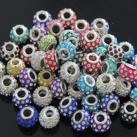Wholesale High quality colourful Mix style rhinestone beads x14mm loose beads fit European Pandora bracelet necklace jewelry