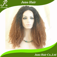 """Ombre Color Synthetic hair Curly Synthetic Cheap Two Tone Lace Front Wig Heat Resistant Hair Wig Afro Curly for African American Women 14""""-26"""" Free Shipping S088 Juno Hair"""