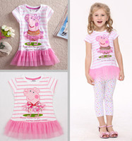 Wholesale Summer Peppa Pig George baby girls tutu dresses kids cartoon clothing ballet cotton cupcake lace dress t shirt stiped tunic top T melee