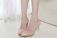 Wholesale free hongkong post F659 COLORS GENUINE LEATHER CLEAR STUDDED HEELS