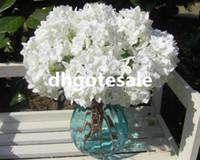 Wholesale HOT cm quot Length Cream Green Purple Blue Pale Pink Artificial Simulation Silk Single Mini Baroque Hydrangea Wedding Flower