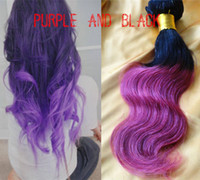 Wholesale New arrival Black to Purple ombre color hair weft body wave Indian virgin human hair14 inches in stock