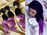 Wholesale fashion Black to Purple ombre color hair weft high quality human hair g pc