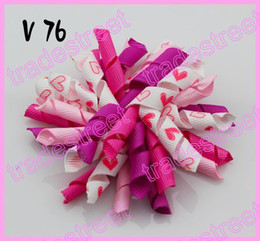 free shipping 2017 newest 80pcs Valentine's day hair bows-A Girl boutique bows Valentine hair clips heart ribbon hair clippie