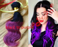 Cheap Hot Sale Black to Purple ombre color hair weft 100% high quality unprocessed Indian remy human hair 100g pc 3pcs lot FREE SHIPPING