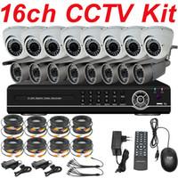 al por mayor cámaras de vigilancia kits baratos-Venta de mejor 16ch cctv kit cctv sistema de instalación de alta resolución de vigilancia de la cámara de vídeo 16ch DVR grabadora de vídeo digital