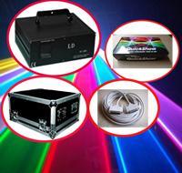 Fábrica 4W 4000 MW RGB a todo color 40k pps DMX512 LED de luz laser de la animación de iluminación escenario + Pangolin QuickShow + 10m + ILDA cable Flightcase
