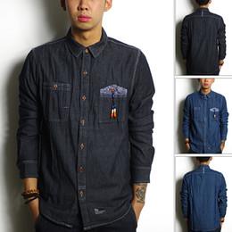 Wholesale 2014 autumn line multicolour beads dark color male denim shirt long sleeve shirt
