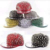 Wholesale HarryStore LD Men Women Spike Studs Rivet Cap Hat Punk Rock Hiphop Black Red White Colors For Pick