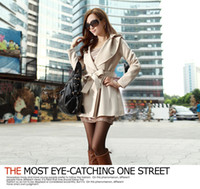 Wholesale Korean women spring autumn new fashion slim hooded breathable cotton stretch collar black beige trench coat ewwt254