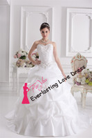 Cheap Free Shipping 2014 Strapless Embroider With Hand Beading Pin Up Taffeta Ball Gown White Wedding Dresses Bridal Gown vestidos de novia