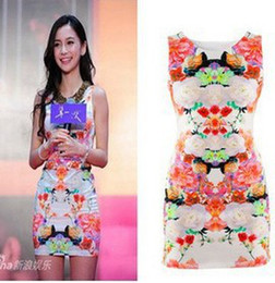 Wholesale EAST KNITTING CY Ladies Floral print Dress elegent slim party evening dress Brand sexy cocktail dress