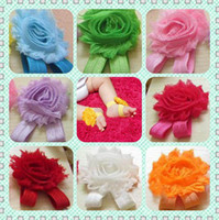 Wholesale 12 color choice baby girls flower sandals quot shabby Shabby Flower foot walker shoes Barefoot Sandals pairs years