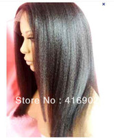 Wholesale amazing full lace wig cap quot quot long b off black kinky straight Indian Remy Human hair Full Lace Wigs on sale