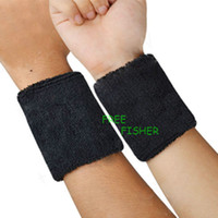 Wholesale FREEFISHER NEW Sports Cotton Wrist Bands Protector Support BLACK