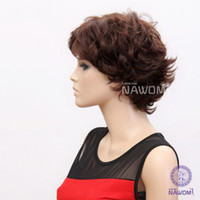 """8 100% Kanekalon Hair Wig,Half Wig Free Shipping none lace wigs, high quality synthetic wigs for women looks like human hair, dark brown 13"""" short wigs"""