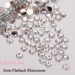 Wholesale mm Flat Back Clear Acrylic Crystal Rhinestone Beads for DIY