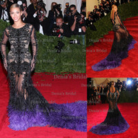 Reference Images beyonce white - The Met Gala Beyonce Sexy Red Carpet Dresses Mermiad Jewel Sheer Long Sleeves Backless Celebrity Dress with Feather Train Beaded Dhyz01
