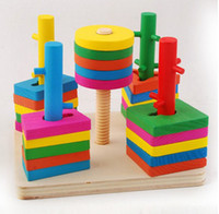 Wholesale Baby Toy Hot sale Wooden toy infant toys wooden toy column shape rings building blocks Yakuchinone