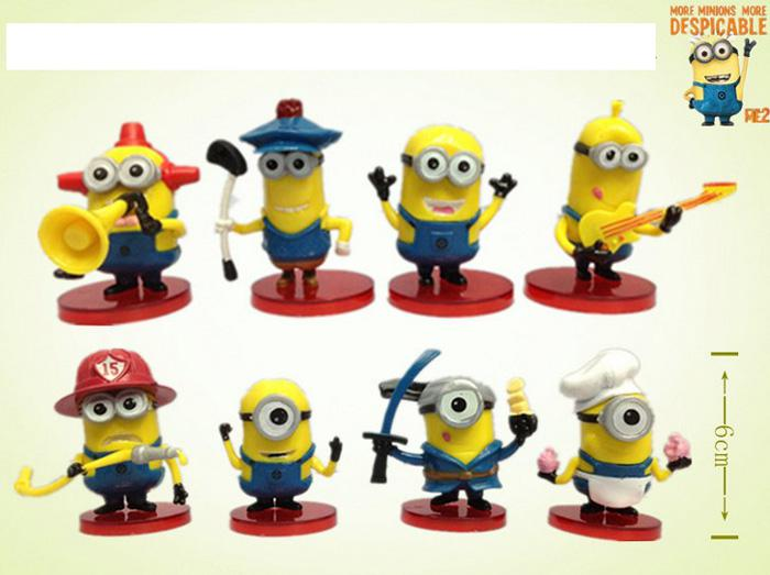 Despicable me 2 movie minions pvc figures full with 3d eye fashion