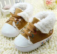 Wholesale 0 months Lapel kids boots Discount thick warm boots Brown lace snow boots soft bottom baby wear pair CL