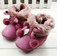 Wholesale Tall boots warm red wine Velcro side thickening snow boots Cheap kids boots soft bottom CM baby wear pair CL