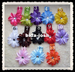 Wholesale Girl Baby Crystal Tropical Lily Flower Hair Baby Hairbows Children Head Accessories Crochet Headbands